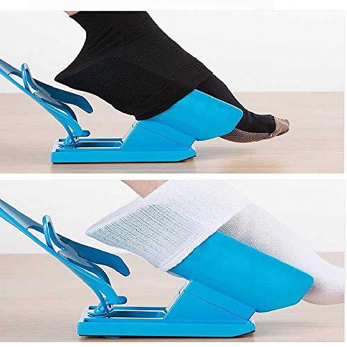 ZHANGNUO 1Pc Blue Sock Slider Aid Easy on Off Calcetín Helper Kit Zapato Sin Dolor Cuerno Sin Doblar Zapato para El Embarazo Ayudas para Vestirse Herramientas Azul