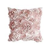 Leisial™ Rosen Kissenbezug Blumen Kissen Cover Gestreift Zierkissenbezüge für Hotel Kissen Rosa...