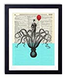 Octopus With Victorian Gentleman Octopus Pictures Wall Art Home & Bathroom Decor Upcycled Vintage Dictionary Art Print 8x10, unframed