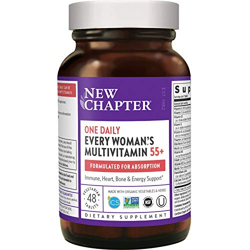 New Chapter Multivitamin for Women 50 Plus - Every Woman's One Daily 55+ with Fermented Probiotics + Whole Foods + Astaxanthin + Organic Non-GMO Ingredients - 48 ct