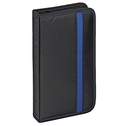 Vivanco CD/DVD-Tasche Nylon, Blue-ray Case, Wallet, Ordner für 48 CDs schwarz-blau
