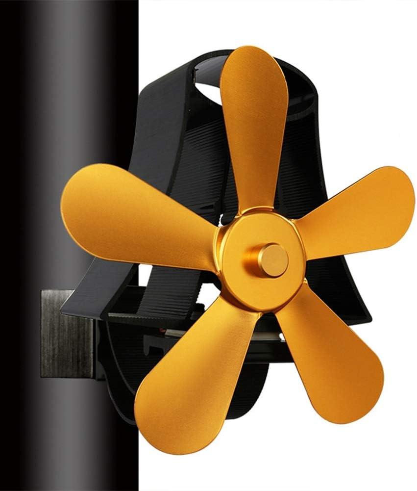 Circolazione del Calore Ecologica Stove Fan Funzionamento da 60℃ Utilizzato EastMetal Ventilatore per Camini a Legna Ventilatore per Camino a Parete con 5 Pale per Stufe a Legna e Caminetti,doro