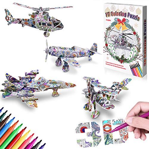 GrandEver Set di Puzzle da colorare 3D,Pittura da colorare con Arte Puzzle 3D Creativo Giocattoli Fai da Te Kit Regalo con 4 Puzzle e 12 pennarelli per Bambini Ragazze Ragazzo 4-12 Anni (Aerei)