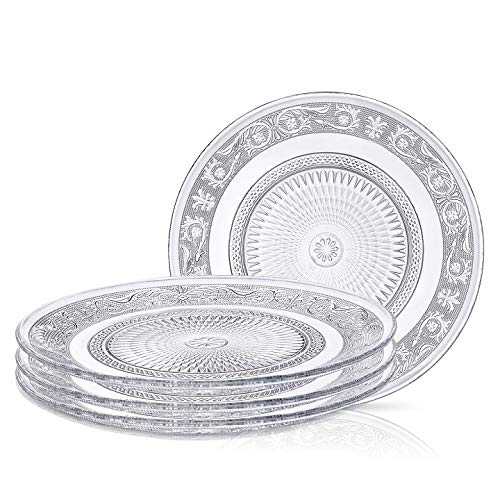 Klikel Glass Plate Clear For Salad - Set of 4 - Fleuri Etched Pattern - 7 Inch