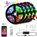 65.6ft/20M RGB LED Strip Lights Kit, 5050 RGB LED Light Strips, Sync to Music Light, Smart App Controlled Color Changing LED Strip Light, Bluetooth Controller, Remote LED Strips(4x16.4FT) (65.6ft)