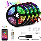 65.6ft\/20M RGB LED Strip Lights Kit, 5050 RGB LED Light Strips, Sync to Music Light, Smart App Controlled Color Changing LED Strip Light, Bluetooth Controller, Remote LED Strips(4x16.4FT) (65.6ft)