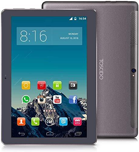 TOSCIDO 4G LTE Tablet 10 Pollici - Android 10.0 , 4GB + 64GB Rom,Octa Core ,Double Sim, WiFi, Double Haut-Parleur Stéréo - Grigio