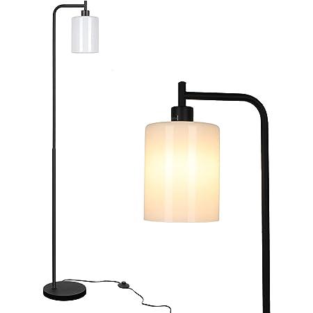 Linkind Lampadaire LED de style industriel - Lampadaire avec interrupteur à pied en métal et verre - Lampe sur pied incluse - Ampoule E27 blanc chaud - Lampe de lecture rétro