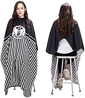 Sponsored Ad - Hairdressing Gown Barber Shawl-Black Stripe Full Length Shawl Waterproof Neutral Professional Barber/Hairdr...
