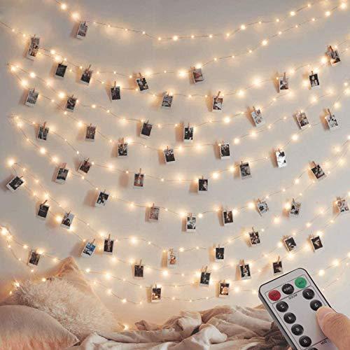 [Lot de 2] guirlande Lumineuse 120 LED 12M 8 modes Alimenté par USB Fairy Lights IP65 pour l'extérieur et l'intérieur en cuivre avec minuterie à distance pour chambre, fête, Noël (blanc chaud)