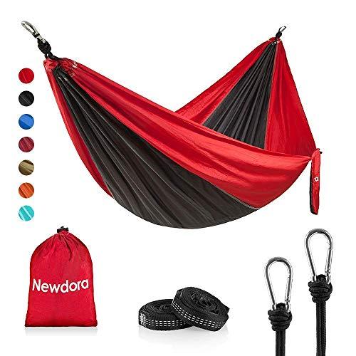 Newdora Hängematte Tragbar Haengematte Tuchhängematte(270 x 140 cm belastbar bis 300 kg für Backpacker Camping Jagen Strand Hof(Grau/Rot)