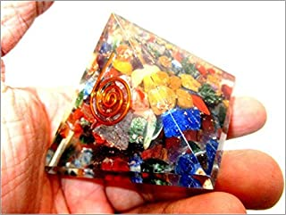 Jet Orgone Pyramid Ions Generator 1.5 inch Natural Charged EMF Harmonizer Energy Chakra Blancing Meditation Vastu Healing Gemstone Jet Crystal Therapy Booklet Hand Carved Image is JUST A Reference