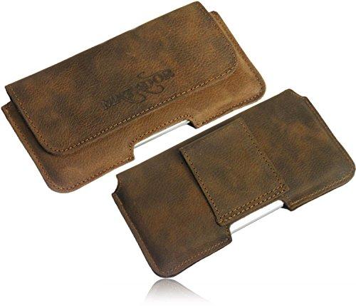 MATADOR Slim Design Echt Leder Tasche Hülle Hülle Waagerechte Quertasche mit Gürtelschlaufe verdeckter Magnetverschluss für Sony Xperia XZ (Tabacco Braun)