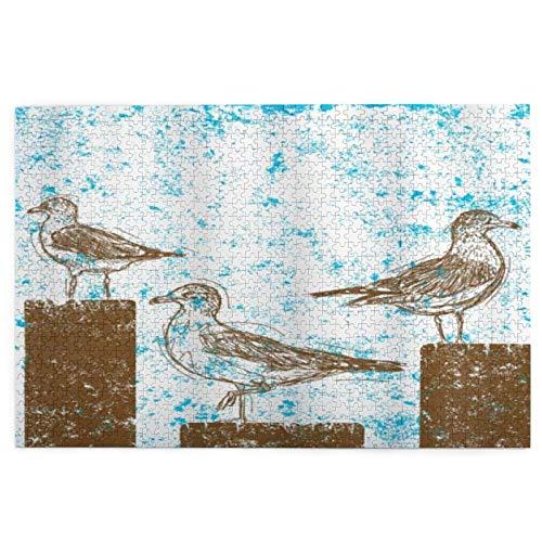 pussel 1 000 bitar för vuxna fiskmåsar måsar vilar på träpelare grungy skissat abstrakt pussel för pojkar flickor seniorer gåvor