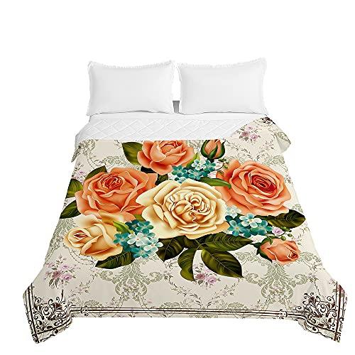 Surwin Tagesdecken Mikrofaser Schlafzimmer Bettüberwurf, 3D Skandinavien Rose Bedruckte Gesteppt Steppdecke für Doppelbett Einzelbett, Sommer Komfort Weich Tagesdecken (Barocke Rose,200x230cm)