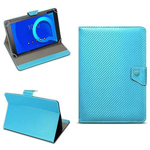 Alcatel 1T 10 Universal Tablet Tasche mit Ständerfunktion Hülle für Schutztasche in edler Carbon-Optik Schutzhülle Stand Etui Cover Hülle von NAmobile, Farben:Türkis