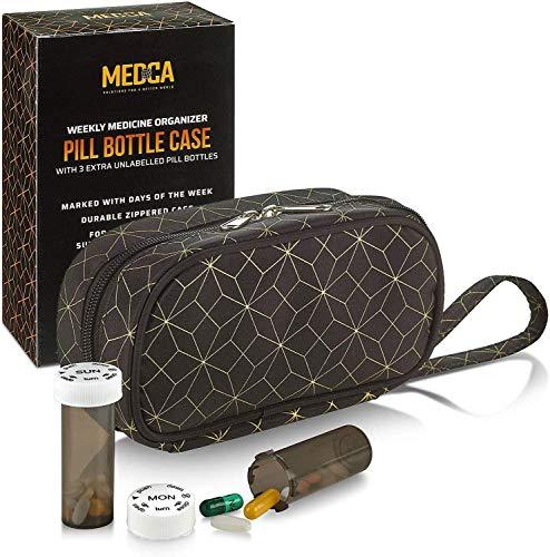 Portapillole e Organizzatore di Bottiglie di Pillole - Contenitore settimanale e giornaliero di medicine Tote Bag per bottiglie di pillole settimanali con 3 bottiglie extra giornaliere