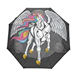 Ali Di Cavallo Unicorno Volare Luna Spaziale Ombrello Pieghevole Automatico Antivento con Auto Apri Chiudi Portatile Protezione UV Ombrelli per Viaggi Spiaggia Donne Bambini Ragazzi Ragazze