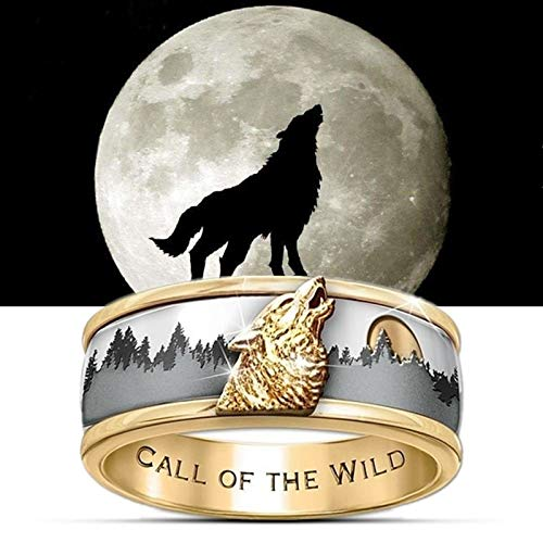 ASEDRF Persönlichkeit Hip-Hop Ruf der Wildnis Wolf-Kopf-Ring Wild Wolf Viking Punkring, Geeignet für Stag Party Hochzeit Schmuck-Größe,9