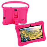 7 inch Kids Tablet PC Case, Silicone Cover with Handle and Kickstand Compatible with TOPELOTEK 7, HENGKE 7, Dragon Touch Y88X Plus, Tagital 7 T7K, Veidoo Kids Tablet T8 Q88 (Pink)