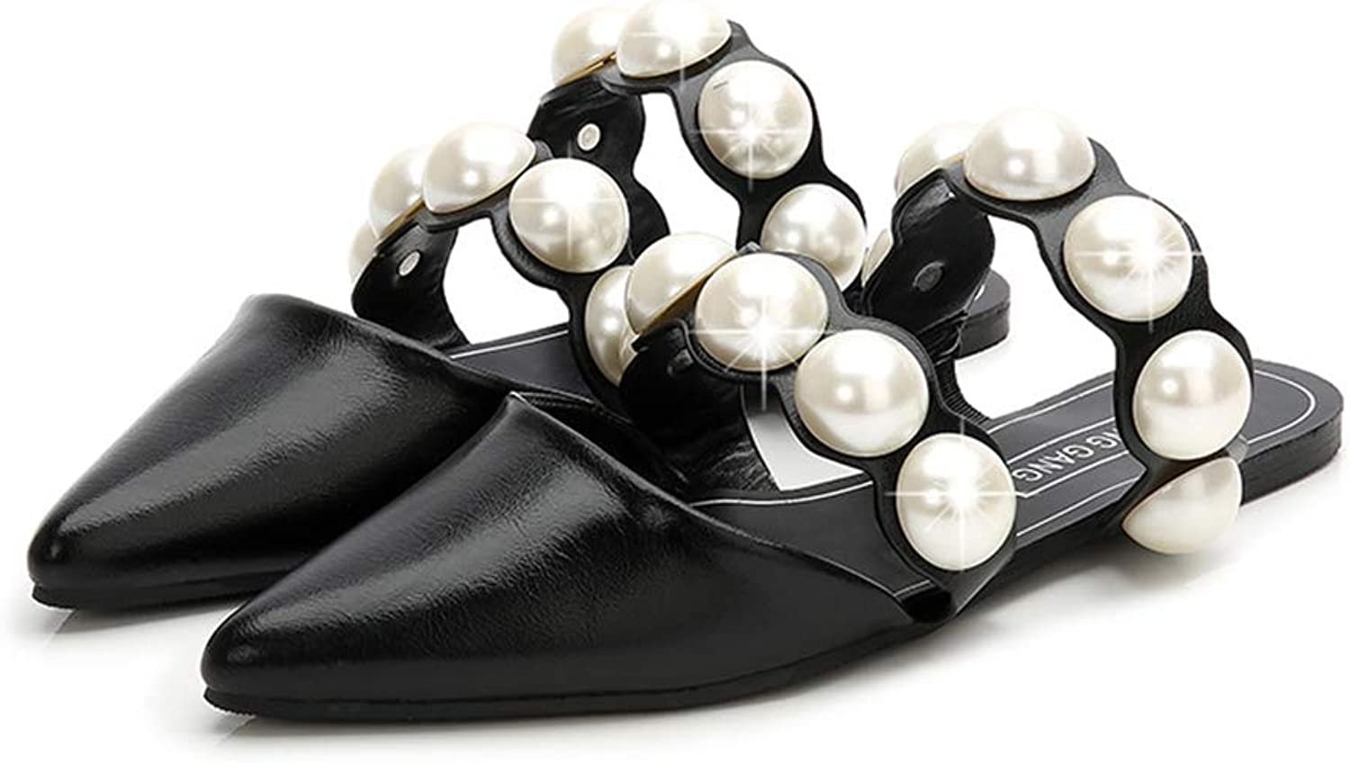 Brilliant sun Womens Pointed Toe Pearl Decorated Slip On Low Heeled Mules Flat Slides Sandals shoes