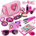 Kids Makeup Kit - Girl Pretend Play Makeup & My First Purse Toy for Toddler Gifts Including Pink Princess Purse, Smartphone, Sunglasses, Credit Card, Lipstick, Brush, Lights Up & Make Real Life Sounds from Meland