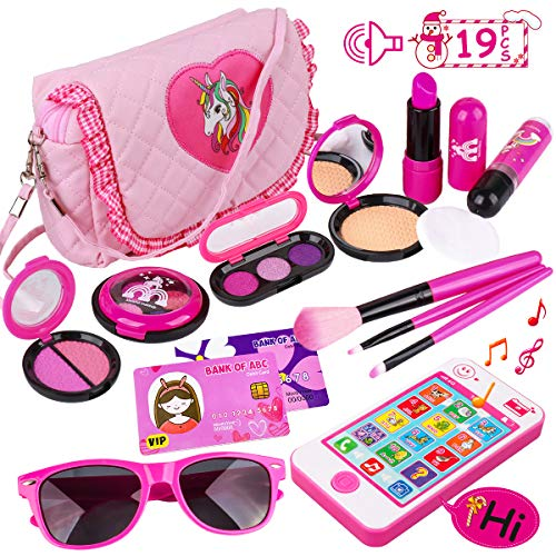 Kids Makeup Kit - Girl Pretend Play Makeup & My First Purse Toy for Toddler Gifts Including Pink Princess Purse, Smartphone, Sunglasses, Credit Card, Lipstick, Brush, Lights Up & Make Real Life Sounds