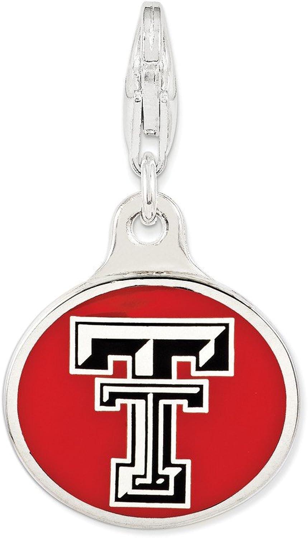 FB Jewels Solid Sterling Silver Enamel Texas Tech Univ. W Lobster Clasp Charm