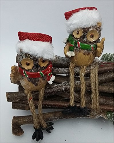 bb10 Schmuck Kantenhocker 2er Set Weihnachtseule Weihnachtsdeko Xmas Figur Weihnachtsgeschenkidee Deko Weihnachten
