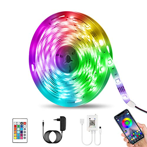 Tiras LED 5M, otumixx Luces LED RGB 5050 con Control Remoto de 24 Botones & Control Bluetooth 16...