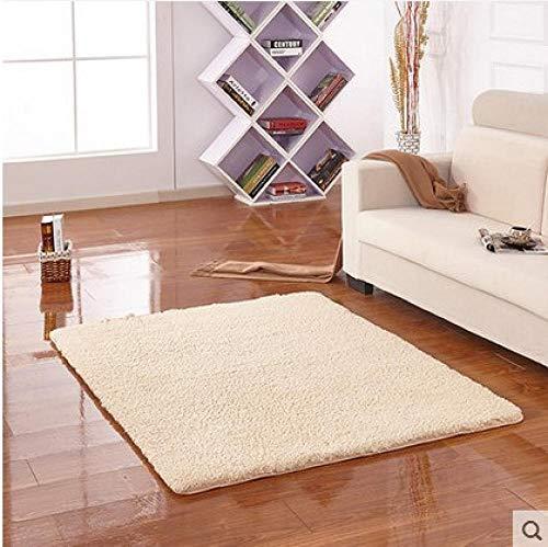 YUANCJ Home Wohnzimmer Teppich,Langes Haar Verdickung Teppich Lamm Samt Nachahmung Mähne Antarktis Samt Teppich Wohnzimmer Tür Couchtisch Wasseraufnahme rutschfeste Tür Kamel, 120 × 160 cm