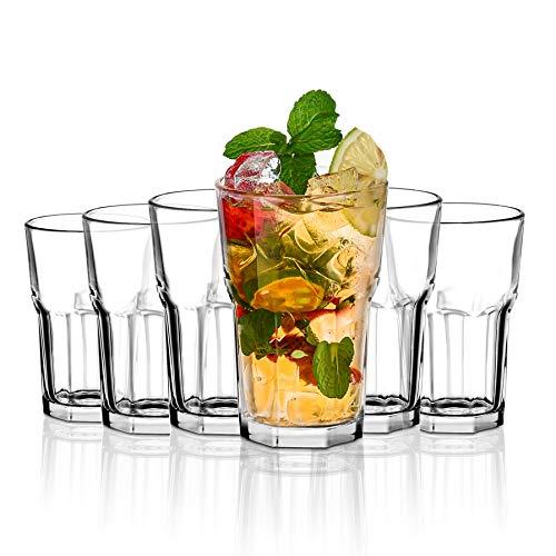 Amisglass Bicchiere Highball, Set 6 Bicchieri Long Drink in Vetro Cristallo, Bicchieri Bibita per Bevande Miste, Acqua, Succo Birra, Bicchieri da Cocktail, Lavabili in Lavastoviglie - 300ml