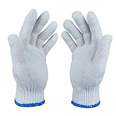 12 Pairs-Cotton String Knit Work Gloves?Cotton Polyester Gloves for Mechanic Industrial Warehouse Gardening Construction Painter Men & Women?Size Large?