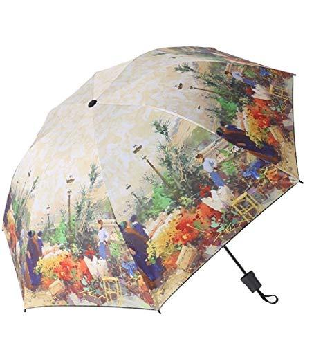 Paraguas Yesello Pintura Al Óleo Paraguas Plegable Paraguas de Las Mujeres Innovador Ultraligero Paraguas de Bolsillo...