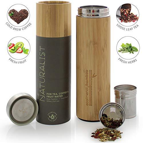 Teabloom Bottiglia Termica Multiuso – Ampia Capacità 0,5 L – Thermos da Viaggio – Bambù Ecosostenibile – Borraccia per Tè, Caffè e Infusioni di Frutta – The Naturalist