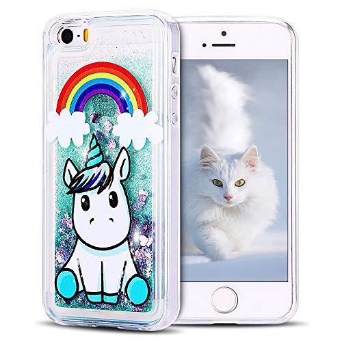 SpiritSun Funda iPhone 5 / 5S Silicona TPU Carcasa Transparente Líquido Bumper Tapa Quicksand Cubierta Trasero Flexible Suave Protectora Case [Antigolpes] [Anti-arañazos] Verde - Unicornio