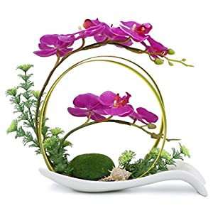 NNEE Artificial Phalaenopsis Orchid Arrangement with Decorative Flower Pot – Purple Orchild A323