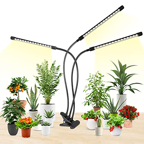 LED Grow Lights, HitLights 3 Head Plant Grow Lights, 10 Dimmable Levels Full Spectrum Clip Plant Growing Lamp for Indoor Plants, 3 Modes Timing Function, 5 Switch Modes, Flexible Gooseneck (Black-15W)