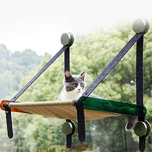 Hamaca de Ventana para Gatos de hasta 17 Kg, Asientos Ventana para Gatos, Tumbona de Ventana Extra Resistente para Gatos, Diseño Que Ahorra Espacio con Cartón Corrugado Gratis