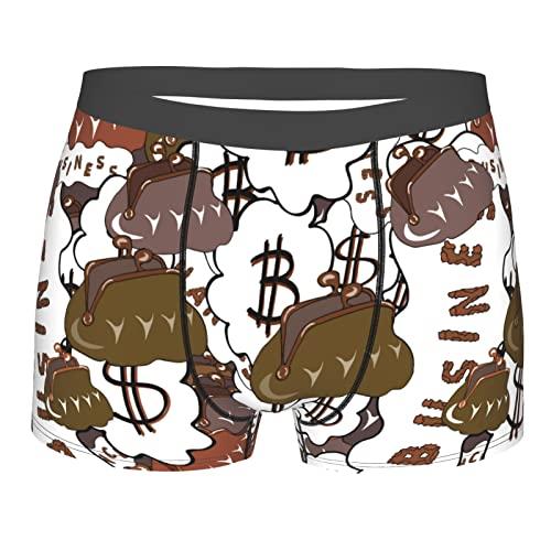 Herren-Boxershorts, weiche Unterwäsche, dehnbar, atmungsaktiv, zum Laufen, Braun-Schwarz Dollar Schein Symbol Geld Kleine Geldbörse Schwarz, S