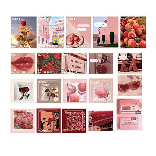 QEWRT 40pcs/pack Retro Po Sky Stickers Package Diary Journal Decoration Label Sticker Album Scrapbooking,Pink