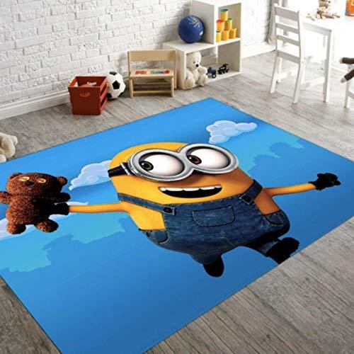llc Teppich Nordic Wohnzimmer Schlafzimmer Kinderzimmer Bodenmatte Modernes Waschbares Rechteck Home Decoration Anime Cartoon Minion Pattern