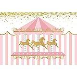 DASHAN 10x8ft Polyester Carousel Backdrop Cake Smash 1st Birthday Newborn YouTube Pink Carousel Baby Shower Carousel Party Carousel Birthday Photography Background Circus Carousel Horse PhotoProp