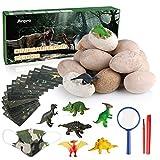 Anpro 12 Huevos de Dinosaurio,Kit de Excavación,Incluye 12 Figuras de...