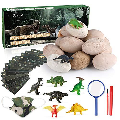 Anpro 12 Huevos de Dinosaurio,Kit de Excavación,Incluye 12 Figuras de Dinosaurios de...
