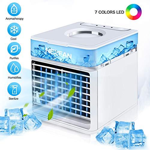 Mobile Klimageräte, Mini Luftkühler Tragbare 4 in 1 Persönliche Klimaanlage, Ventilator, Luftbefeuchter, Mini Luftreiniger, 3 Kühlstufen mit LED Nachtlicht wenig Lärm für Schlafzimmer Büro Reise