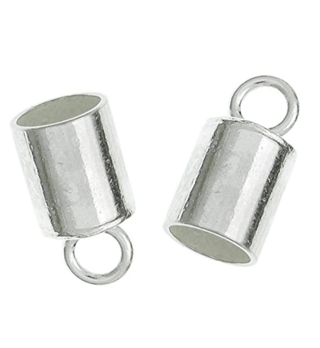 30pcs Sterling Silver Cord Ends Endcap End Caps Barrel for 2.5mm to 3mm Cord Beading Wire Jewelry Craft Making SS247