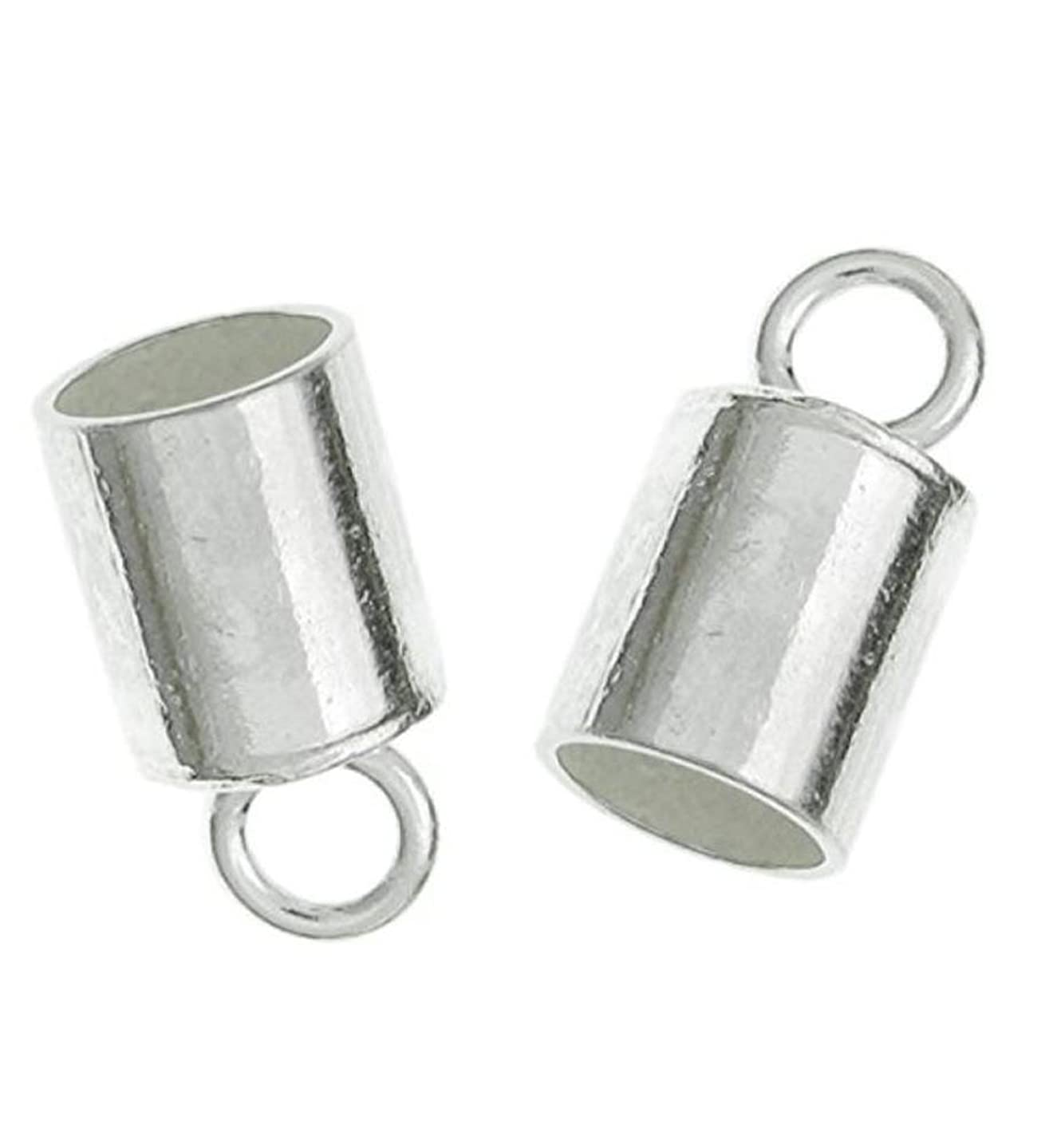 30pcs Sterling Silver Cord Ends Endcap End Caps Barrel for 1.5mm to 2mm Cord Beading Wire Jewelry Craft Making SS259