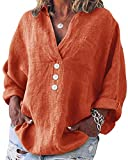Yidarton - Blusa de mujer de manga larga, informal, cuello en V, túnica, de algodón, tallas grandes, camisa de lino naranja M
