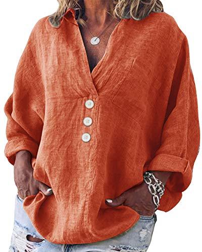 Yidarton Bluse Damen Langarm Oberteil Casual V-Ausschnitt Tops Tunika Lose Baumwolle Große Größen Hemd Leinenbluse (Orange, L=(EU 38-40))
